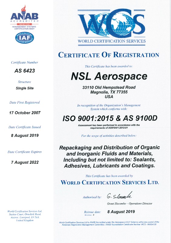 AS ISO 9001:2015 and AS9100D Certificate from WCS