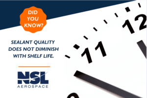 Graphic about how aviation sealant quality does not diminish with shelf life.